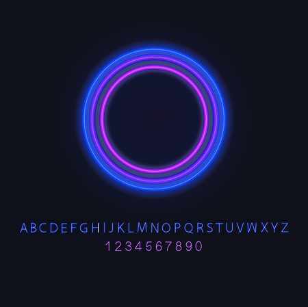 Vector Neon Circle Blank Frame Template and Neon Font, Blue and Violet Lights, Isolated on Black Background Set. Ilustração
