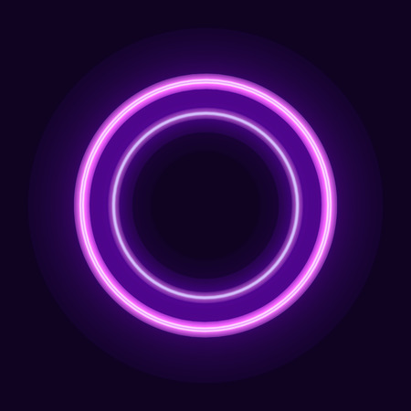 Vector Neon Ultraviolet Circle Blank Frame Shining on Dark Background, Isolated Design Element, Pink Power Glowing Round Shape.