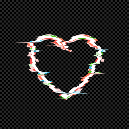Vector Glitches on the Heart Icon, Technology Effect, TV Distortion, Retro Style Illustration Isolated on Dark Transparent Background. Ilustração