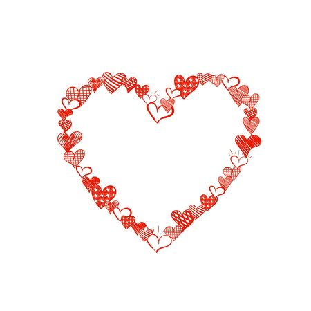 Vector Doodle Heart Made of Small Heart Drawings, Bright Red Color, Cute Frame Illustration, Blank Template Isolated on White Background.