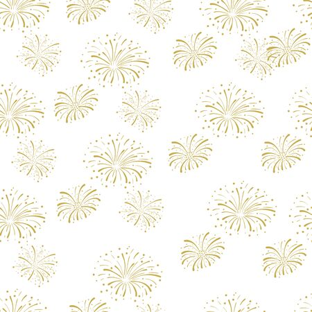 Vector Seamless Pattern, Fireworks Background, Golden Fire Cracker Explosion Isolated on White, Festive Illustration. Ilustração