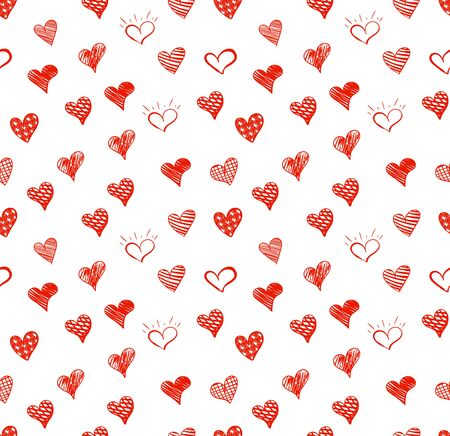 Vector Seamless Pattern, Doodle Hearts Background Template, Red Colored Love Symbols Isolated on White Background, Hand Drawn Backdrop. Ilustração