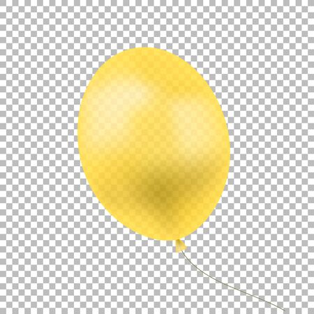 Vector Yellow Balloon Isolated on Transparent Background, Translucent Object, Calebration Concept Illustration, Clip Art Template.