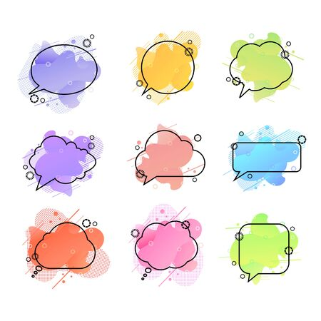 Vector Speech Bubbles, Colorful Liquid Shapes Geometric Backdrops, Design Elements Set Isolated on White Background, Bright Different Colors. Ilustração