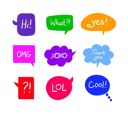 Vector Set of Colorful Speech Bubbles with Handwritten Words Isolated on White Background, Design Elements Collection, Different Colors and Shapes.