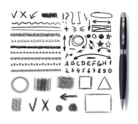 Vector Collection of Sketchbook Drawings, Black Pen Hand Drawn Design Elements Set Isolated on White Background with Black Realistic Pen, Scribble Lines, Arrows and Geometrical Shapes. Ilustração