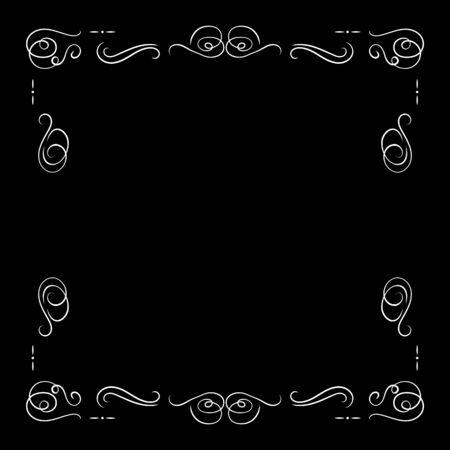 Vector White Vintage Frame Isolated on Black Background, Blank Border Template, Retro Movie Decorative Element, Filigree Lines. Illustration