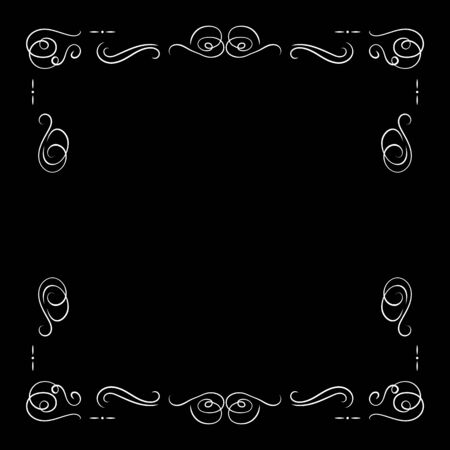 Vector White Vintage Frame Isolated on Black Background, Blank Border Template, Retro Movie Decorative Element, Filigree Lines.