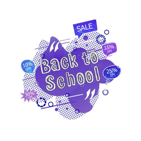 Vector Back to School Sale Tag, Liquid Purple Abstract Shapes Background, Talk Bubbles with Percents Off and Sale Inscription, Colorful Chalk Drawings Isolated on White. Ilustração