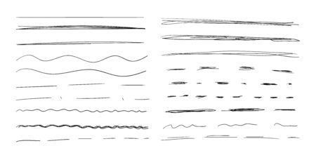 Vector Hand Drawn Underline Strokes Set Isolated on White Background, Scribble Black Drawings, Collection of Different Lines.