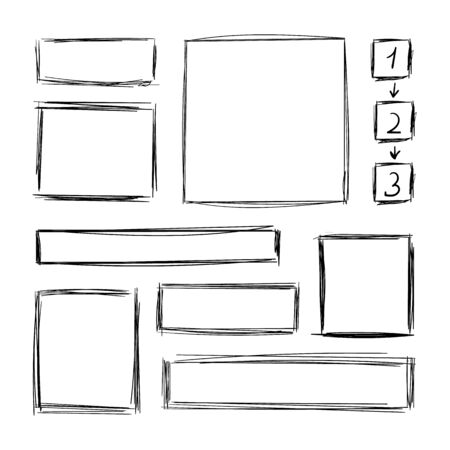 Vector Collection of Hand Drawn Scribble Square Frames, Steps with Arrows Scheme, Design Element Set Isolated on White Background, Pen Freehand Drawings. Ilustração