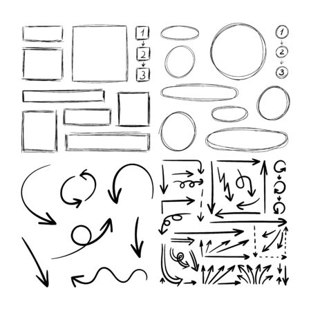 Vector Set of Hand Drawn Scribble Drawings, Illustration Isolated on White Background, Black Rough Lines, Blank Frames, Arrows, Circles and Rectangular Shapes, Planning Elements.