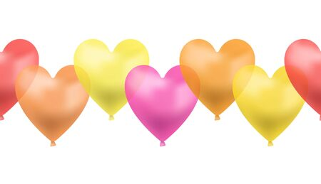 Vector Seamless Line of Heart Shaped Balloons, Red, Pink, Yellow, Orange Brigth Colors, Colorful Illustration, Love Symbol, Fun Concept, Isolated on White Background Element.