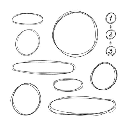 Vector Collection of Hand Drawn Scribble Circle Frames, Steps with Arrows Scheme, Design Element Set Isolated on White Background, Pen Freehand Drawings. Ilustração
