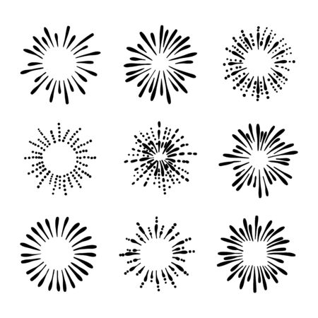 Collection vectorielle de dessins de feu d'artifice rétro dessinés à la main, illustration noir et blanc, griffonnages isolés sur fond blanc, éclaboussures d'encre. Vecteurs