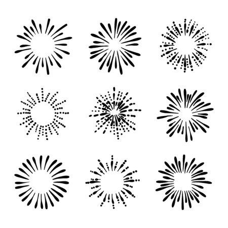 Vektor-Sammlung von Hand gezeichneten Retro-Feuerwerk-Zeichnungen, Schwarz-Weiß-Illustration, Gekritzel auf weißem Hintergrund, Tintenspritzer. Vektorgrafik