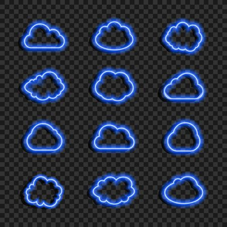 Vector Glowing Neon Blue Clouds Set Isolated on Dark Transparent Background, Icons Collection, Data Cloud, Weather Sign, Different Shapes, Abstract Light.