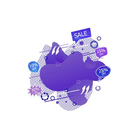 Vector Abstract Geometric Shape with Sale Tags, Halftone Elements, Decorative Graphic Illustration, Purple Blue Colors, Isolated on White Background.