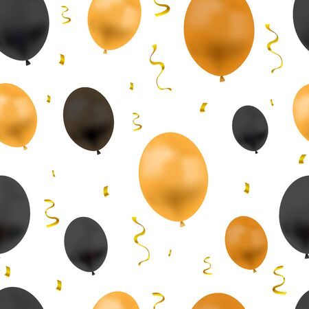 Vector Festive Background with Colorful Balloons and Golden Confetti, Seamless Pattern, Halloween Colors, Orange and Black Objects Isolated on White Backdrop.