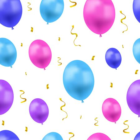Vector Festive Background with Colorful Balloons and Golden Confetti, Seamless Pattern, Blue, Pink and Purple Colors, Objects Isolated on White Backdrop.