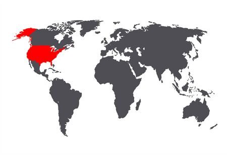Vector USA on the World Map, Gray and Red Colors, Isolated Country Image. Ilustração
