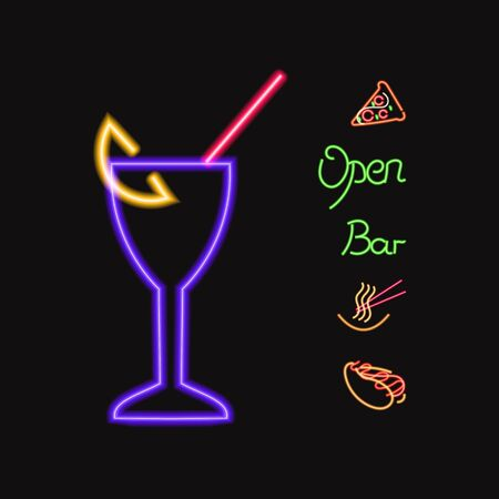 Vector Collection of Colorful Neon Bar Icons, Ramen, Open, Bar, Cocktail in the Glass, Pizza and Hot Dog Illustrations Isolated on Dark Background, Shining Logo.