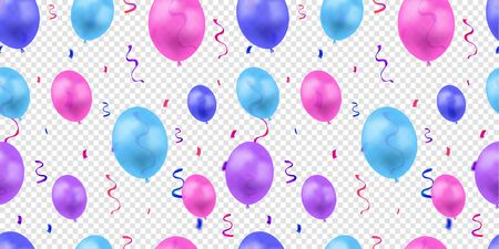 Vector Colorful Seamless Pattern with Bright Balloons and Serpentine Coils Isolated on Transparent Background, Birthday Background Template.