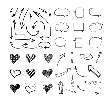 Vector Sketchy Design Elements Set Isolated on White Background, Black Lines, Hand Drawn Illustration.