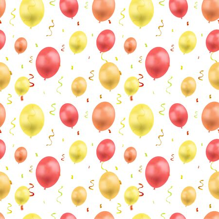 Vector Birthday Colorful Background Template, Seamless Pattern, Golden Confetti and Different Colored Balloons Isolated on White Background, Festive Illustration.