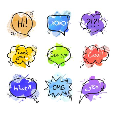 Vector Colorful Collection of Speech Bubbles Isolated on White Background, Lettering, Hand Drawn Letters, Geometric Liquid Shapes Background, Different Colors. Stock Illustratie