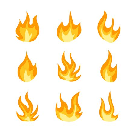 Vector Collection of Fire Icons Isolated on White Background, Colorful Orange Flames, Flat Design Elements.