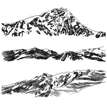 Vector Set of Hand Drawn Mountains Sketches, Black Scribble Freehand Drawings Isolated on White Background, Wild Nature Illustration.