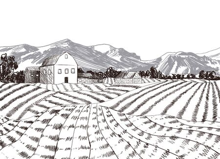 Vector Hand drawn Farm with Mountains Background, Freehand Drawing Illustration, Agriculture Concept, Monochrome Art.