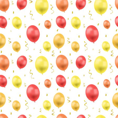 Vector Seamless Pattern, Ballons and Serpentin, Bright Golden Confetti Explosion, Birthday Greeting Card Background Template, Colorful Illustration. Illustration