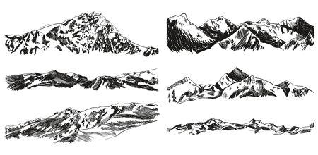 Collection vectorielle de montagnes et de collines dessinées à la main isolées sur fond blanc, dessins de gribouillis noirs, illustrations vintage.
