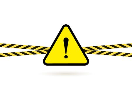 Vector Dangerous Sign Triangle with Exclamation Point and Barricade Crossed Tapes Isolated on White Background, Yellow and Black Illustration.