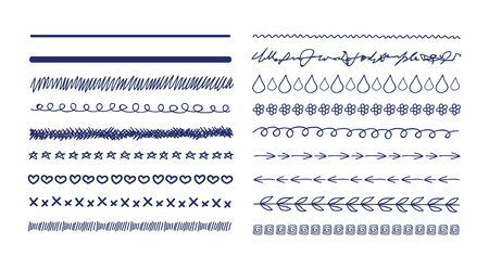 Vector Doodle Drawings Divider Lines Collection, Sketched Illustration, Freehand Drawn Lines, Scribble Lines Set Isolated on White Background.