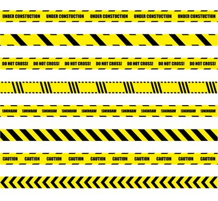 Vector Collection of Dengerous Ribbons, Cross Barrier Lines, Bright Yellow and Black Colors.