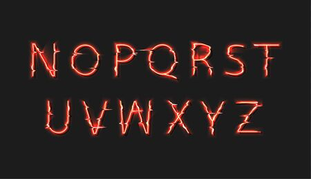 Vector Fire Font, 2nd Part Halloween Banner Type Set, Typography Colorful Elements Isolated on Dark Background.