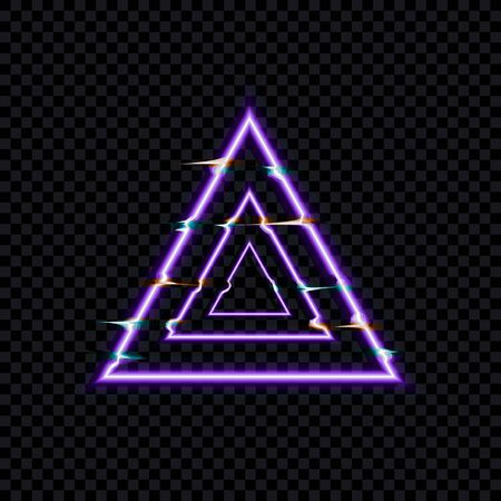 Vector Glitch Effect, Glows Distorted Triangles, Neon Icon Template Isolated on Dark Transparent Background.