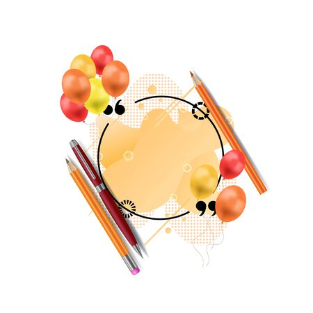Vector Quote Circle Frame with an Orange Liquid Geometric Shapes on the Background, Design Element with Realistic Pen and Pencils Isolated on White Background.