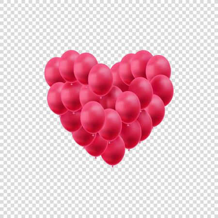 Vector Hearts, Bright Red Balloons Isolated on White Background, Valentines Day Decoration, Wedding Design Element, Love Symbol.