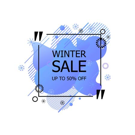 Vector Winter Sale Sign Isolated on White Background, Abstract Geometric Shapes and Snowflakes, Up To 50 Off Tag, Quote Box Template, Blue Color.