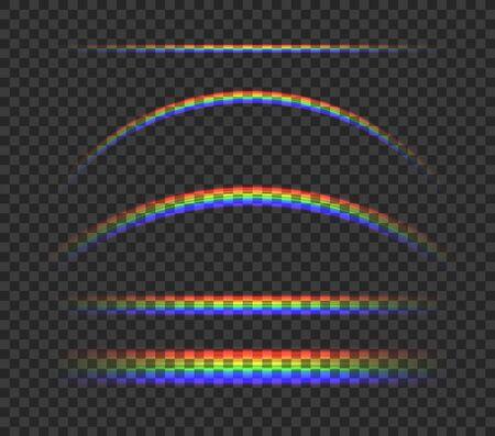 Vector Shining Rainbow Lights Isolated on Dark Transparent Background, Colorful Illustration, Neon Bright Light.
