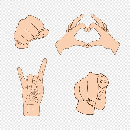 Vector Set of Hand Gesturing, Pointing Finger, Fist, Heart Shaped Palms, Colorful Icons Isolated on Light Transparent Background. Illustration