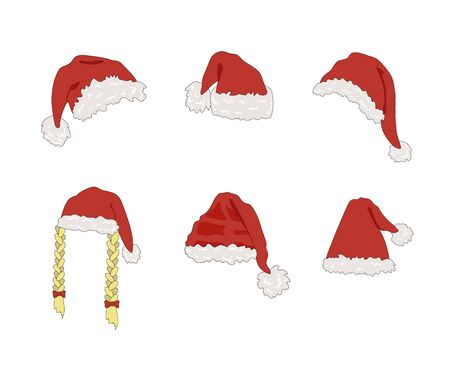 Vector Santas Fluffy Hat Isolated on White Background, Christmas Celebration, Festive Decorative Element, Clip Art Templates. Illustration