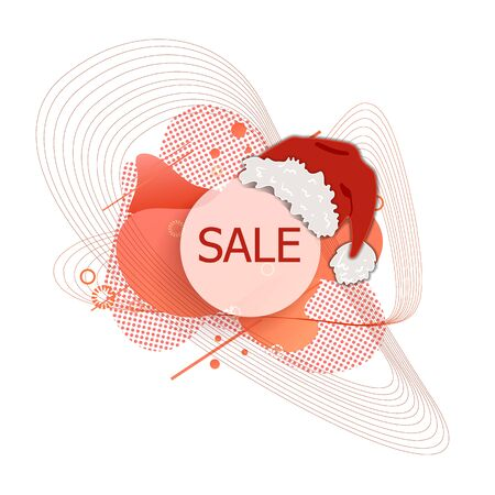 Vector Chrismat Sale Label, Abstract Liquid Shaped Background, Red Color, Santas Hat, Design Element Isolated on White Background. Illustration