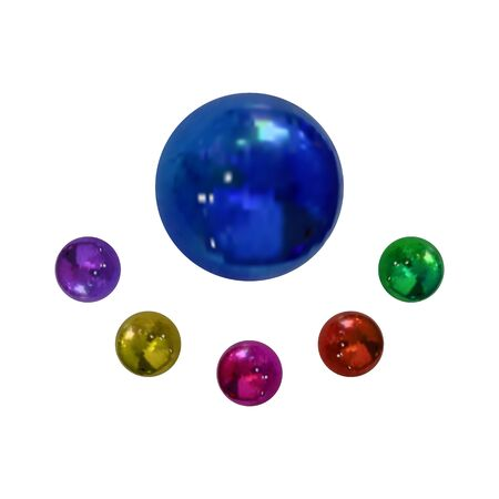 Vector Collection of Realistic Metallic Balls Isolated on White Background, Colorful Spheres, Blank Templates. Stock Illustratie