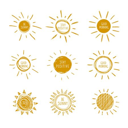 Vector Collection of Doodle Hand Drawn Sun Icons with Handwritten Words, Be Sunny, Good Morning, Stay Positive, Bright Yellow Orange Illustrations.