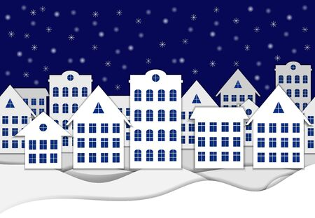 Vector Paper Winter Art, Buildings on the Snow, Horizontal Seamless Background, Blue and White Colors. Illustration